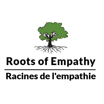 Logo and link for Roots of Empathy. Roots of Empathy develops empathy in children today so they can build the world that they deserve.